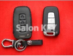 Кожаный чехол для ключа КИА черные нитки