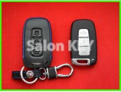 Чехол кожаный для смарт ключа KIA синие нитки