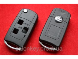 Toyota Land Cruiser выкидной ключ 3 кнопки Silver Ring