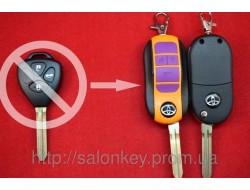 Выкидной ключ Toyota 3 кнопки. Для переделки вид ORANGE
