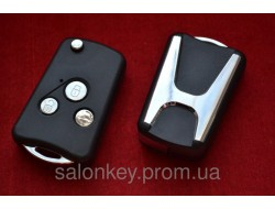Ключ Honda accord, cr-v, hr-v, fr-v выкидной ключ 3 кнопки Big logo