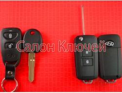 Hyundai выкидной ключ 2 кнопки для переделки с местом под батарейку Вид Black