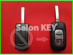 Корпус ключа Peugeot для переделки из 3 кнопочного