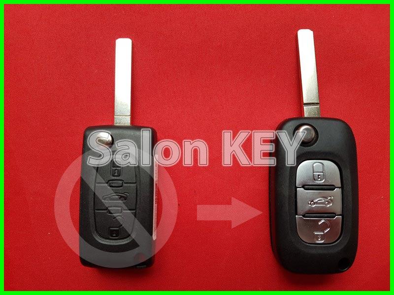 Ключ Peugeot корпус для переделки 3 кнопочного выкиного