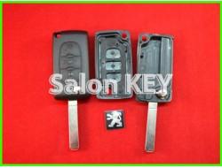 Корпус ключа Peugeot выкидной 3 кнопки без bettery holder (OEM)