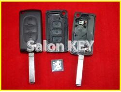 Корпус ключа Peugeot выкидной 3 кнопки с bettery holder (OEM)