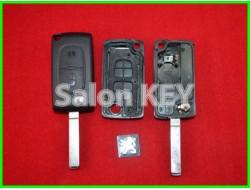 Корпус ключа Peugeot выкидной 2 кнопки с bettery holder (OEM)