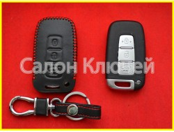 Чехол кожаный для смарт ключа KIA красные нитки