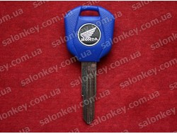 Ключ мото Honda с местом под чип синий короткий