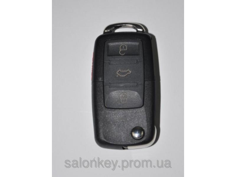 Ключ выкидной универсальный. Вид Volkswagen 3+1 кнопки.
