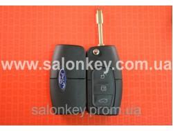 Выкидной ключ корпус Ford mondeo, focus, fiesta, fusion, 3 кнопки лезвие FO21 Вид Банан