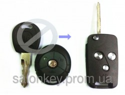 Выкидной ключ MG 3 кнопки. Для объединения ключа и брелка. Лезвие NE77.