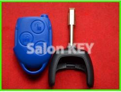 Корпус ключа Ford Transit 3 кнопки синий лезвие FO21