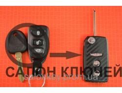 Выкидной ключ Hyundai для переделки 3 кнопки Вид №7 карбон