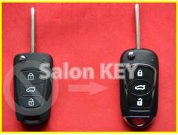 Улучшенный выкидной корпус ключа KIA для переделки из выкидного 3 кнопки