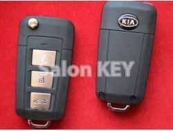 Ключ Kia выкидной для переделки 3 кнопки без места под батарейку, вид Plastik