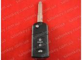 Mazda выкидной ключ на 3 кнопки корпус. Батарейка контакт вбок
