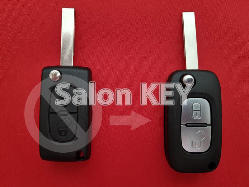 Ключ Peugeot корпус для переделки 2 кнопочного выкиного