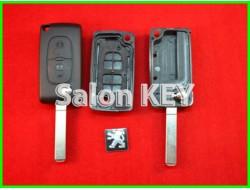 Корпус ключа Peugeot выкидной 2 кнопки без bettery holder (OEM)