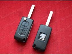 Выкидной ключ Пежо 407 (key peugeot 407) 3 кнопки 2004-2010