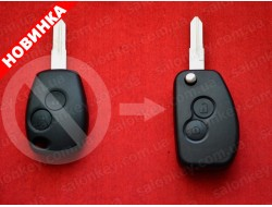 Выкидной ключ Renault Kangoo 2 кнопки 434Mhz PCF7946 id46 434Mhz лезвие VAC102 с 2002 по 2008г
