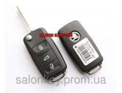 Ключ Skoda octavia, roomster, superb выкидной чип CAN48, 434Mhz 3T0 837 202 L Оригинал
